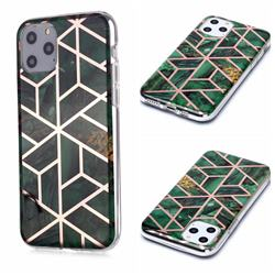 Green Rhombus Galvanized Rose Gold Marble Phone Back Cover for iPhone 11 Pro (5.8 inch)