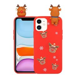 Elk Snowflakes Christmas Xmax Soft 3D Doll Silicone Case for iPhone 11 Pro (5.8 inch)
