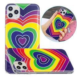 Rainbow Heart Painted Galvanized Electroplating Soft Phone Case Cover for iPhone 11 Pro (5.8 inch)