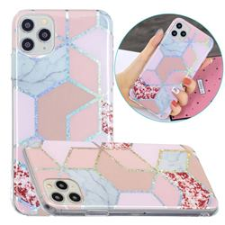 Pink Marble Painted Galvanized Electroplating Soft Phone Case Cover for iPhone 11 Pro (5.8 inch)