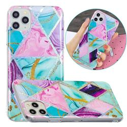 Triangular Marble Painted Galvanized Electroplating Soft Phone Case Cover for iPhone 11 Pro (5.8 inch)