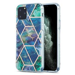 Blue Green Marble Pattern Galvanized Electroplating Protective Case Cover for iPhone 11 Pro (5.8 inch)