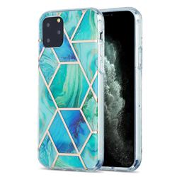 Green Glacier Marble Pattern Galvanized Electroplating Protective Case Cover for iPhone 11 Pro (5.8 inch)