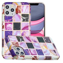 Square Puzzle Painted Marble Electroplating Protective Case for iPhone 11 Pro (5.8 inch)