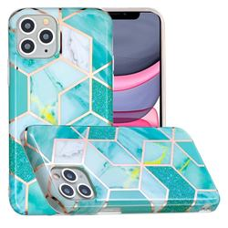 Green Glitter Painted Marble Electroplating Protective Case for iPhone 11 Pro (5.8 inch)