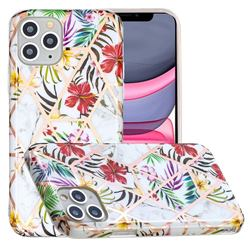 Tropical Rainforest Flower Painted Marble Electroplating Protective Case for iPhone 11 Pro (5.8 inch)