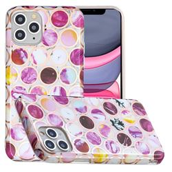 Round Puzzle Painted Marble Electroplating Protective Case for iPhone 11 Pro (5.8 inch)