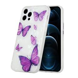Purple Butterfly Shell Pattern Glossy Rubber Silicone Protective Case Cover for iPhone 11 Pro (5.8 inch)