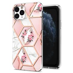 Pink Flower Marble Electroplating Protective Case Cover for iPhone 11 Pro (5.8 inch)