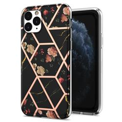 Black Rose Flower Marble Electroplating Protective Case Cover for iPhone 11 Pro (5.8 inch)