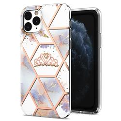 Crown Purple Flower Marble Electroplating Protective Case Cover for iPhone 11 Pro (5.8 inch)