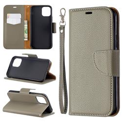 Classic Luxury Litchi Leather Phone Wallet Case for iPhone 11 Pro (5.8 inch) - Gray