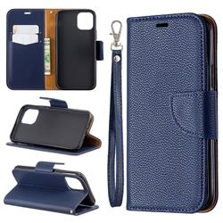 Classic Luxury Litchi Leather Phone Wallet Case for iPhone 11 Pro (5.8 inch) - Blue