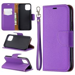 Classic Luxury Litchi Leather Phone Wallet Case for iPhone 11 Pro (5.8 inch) - Purple