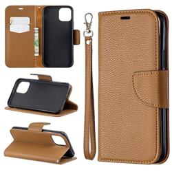 Classic Luxury Litchi Leather Phone Wallet Case for iPhone 11 Pro (5.8 inch) - Brown