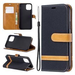 Jeans Cowboy Denim Leather Wallet Case for iPhone XI 2019 (5.8 inch) - Black