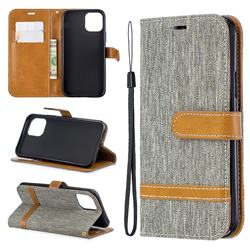 Jeans Cowboy Denim Leather Wallet Case for iPhone 11 Pro (5.8 inch) - Gray