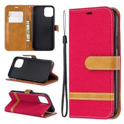 Jeans Cowboy Denim Leather Wallet Case for iPhone 11 Pro (5.8 inch) - Red