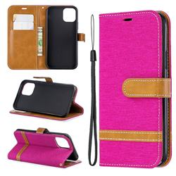 Jeans Cowboy Denim Leather Wallet Case for iPhone 11 Pro (5.8 inch) - Rose