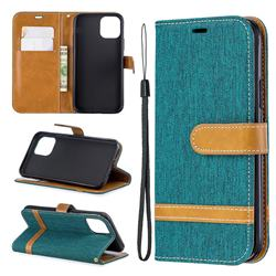 Jeans Cowboy Denim Leather Wallet Case for iPhone 11 Pro (5.8 inch) - Green