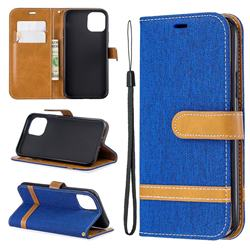 Jeans Cowboy Denim Leather Wallet Case for iPhone 11 Pro (5.8 inch) - Sapphire