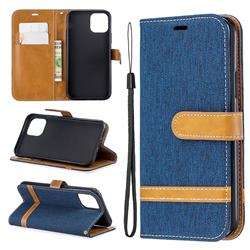 Jeans Cowboy Denim Leather Wallet Case for iPhone 11 Pro (5.8 inch) - Dark Blue