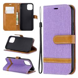 Jeans Cowboy Denim Leather Wallet Case for iPhone 11 Pro (5.8 inch) - Purple