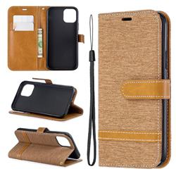 Jeans Cowboy Denim Leather Wallet Case for iPhone 11 Pro (5.8 inch) - Brown