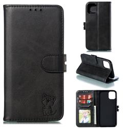 Embossing Happy Cat Leather Wallet Case for iPhone 11 Pro (5.8 inch) - Black