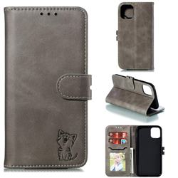 Embossing Happy Cat Leather Wallet Case for iPhone 11 Pro (5.8 inch) - Gray