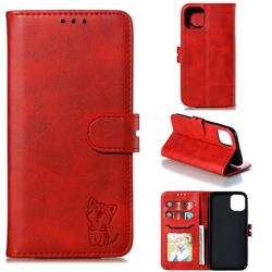 Embossing Happy Cat Leather Wallet Case for iPhone 11 Pro (5.8 inch) - Red