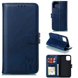 Embossing Happy Cat Leather Wallet Case for iPhone 11 Pro (5.8 inch) - Blue