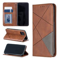 Prismatic Slim Magnetic Sucking Stitching Wallet Flip Cover for iPhone 11 Pro (5.8 inch) - Brown