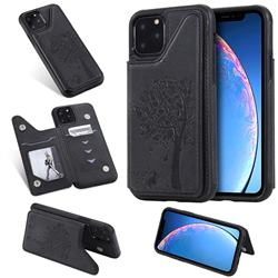 Luxury Tree and Cat Multifunction Magnetic Card Slots Stand Leather Phone Back Cover for iPhone 11 Pro (5.8 inch) - Black