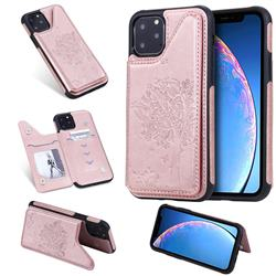 Luxury Tree and Cat Multifunction Magnetic Card Slots Stand Leather Phone Back Cover for iPhone 11 Pro (5.8 inch) - Rose Gold