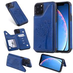 Luxury Tree and Cat Multifunction Magnetic Card Slots Stand Leather Phone Back Cover for iPhone 11 Pro (5.8 inch) - Blue