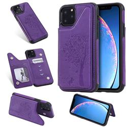 Luxury Tree and Cat Multifunction Magnetic Card Slots Stand Leather Phone Back Cover for iPhone 11 Pro (5.8 inch) - Purple