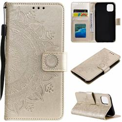 Intricate Embossing Datura Leather Wallet Case for iPhone 11 Pro (5.8 inch) - Golden