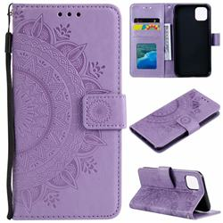 Intricate Embossing Datura Leather Wallet Case for iPhone 11 Pro (5.8 inch) - Purple