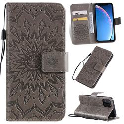 Embossing Sunflower Leather Wallet Case for iPhone 11 Pro (5.8 inch) - Gray