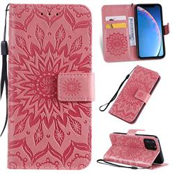 Embossing Sunflower Leather Wallet Case for iPhone 11 Pro (5.8 inch) - Pink