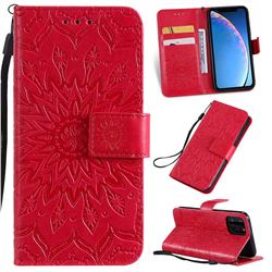 Embossing Sunflower Leather Wallet Case for iPhone 11 Pro (5.8 inch) - Red
