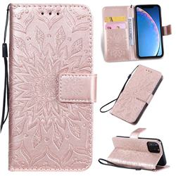 Embossing Sunflower Leather Wallet Case for iPhone 11 Pro (5.8 inch) - Rose Gold