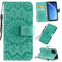 Embossing Sunflower Leather Wallet Case for iPhone 11 Pro (5.8 inch) - Green