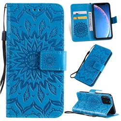 Embossing Sunflower Leather Wallet Case for iPhone 11 Pro (5.8 inch) - Blue