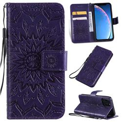 Embossing Sunflower Leather Wallet Case for iPhone 11 Pro (5.8 inch) - Purple