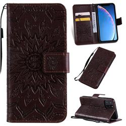 Embossing Sunflower Leather Wallet Case for iPhone 11 Pro (5.8 inch) - Brown