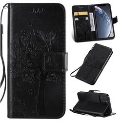 Embossing Butterfly Tree Leather Wallet Case for iPhone 11 Pro (5.8 inch) - Black