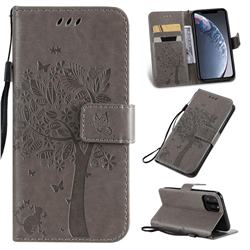 Embossing Butterfly Tree Leather Wallet Case for iPhone 11 Pro (5.8 inch) - Grey