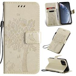 Embossing Butterfly Tree Leather Wallet Case for iPhone 11 Pro (5.8 inch) - Champagne